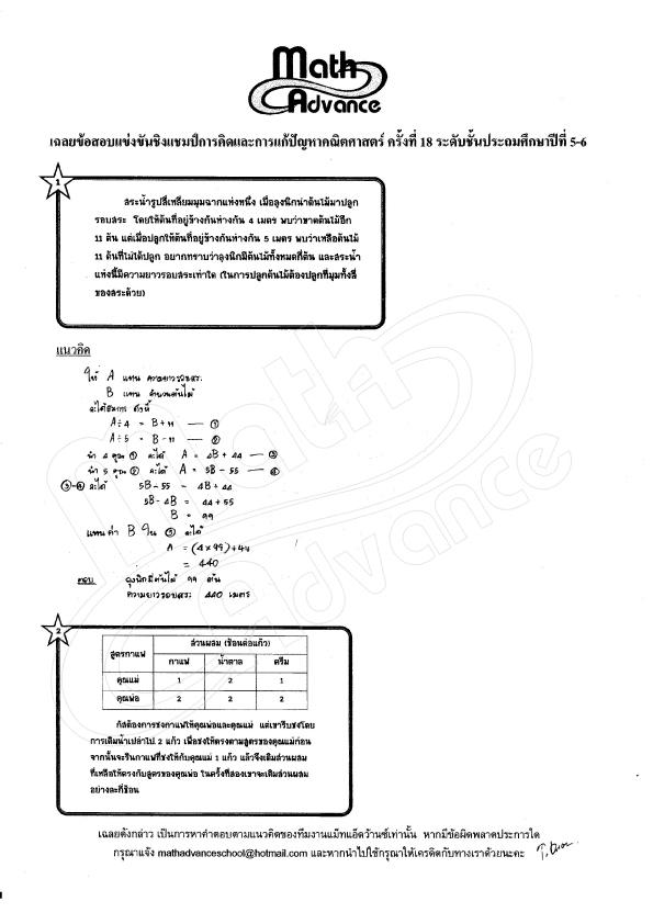 เฉลย การคิดและแก้ปัญหาคณิตศาสตร์ ป.5-ป.6 ครั้งที่ 18 ปี 2560 (ส่วนที่ 1/2)